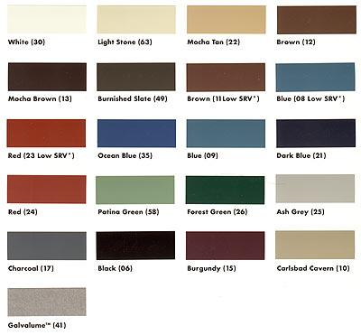 Metal Sales Color Chart